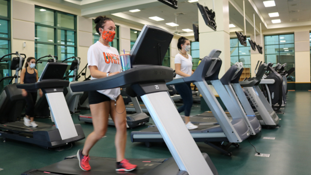 cardio area workout with mask