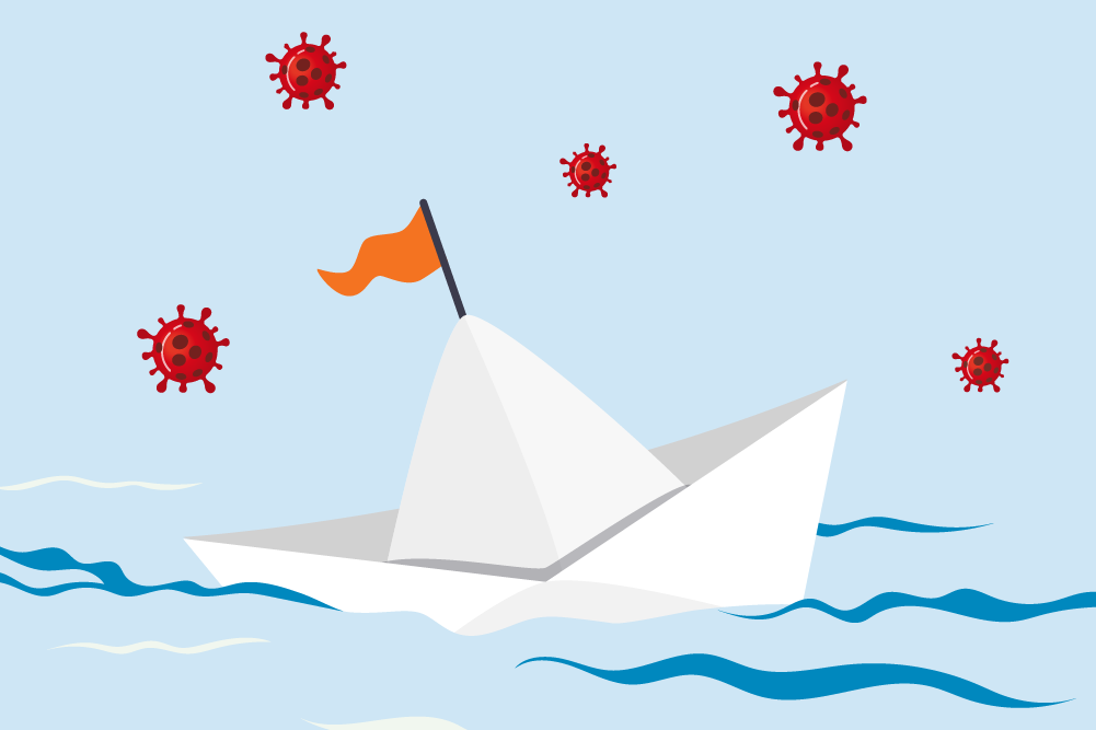 A boat graphic with multiple virus icons floating in the sky.